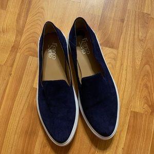 Franco Sarto navy blue suede slip on shoes